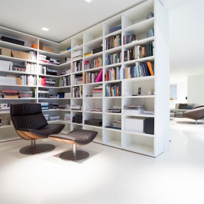 35522051 - view of library inside expensive, modern residence